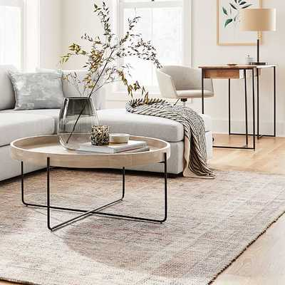 Willow Round Coffee Table Cerused White and Antique Bronze - West Elm