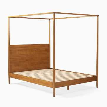 Mid-Century Canopy Bed, King, Acorn - West Elm