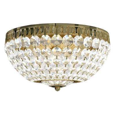 """Schonbek Petit Chandelier Style Bowl Flush Mount Finish: Aurelia Gold / Spectra Crystal, Size: 6.5"""" H x 12"""" W x 12"""" D - Perigold"""