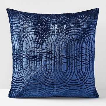 Lush Velvet Infinity Quilted Pillow Cover, Midnight, Single - West Elm