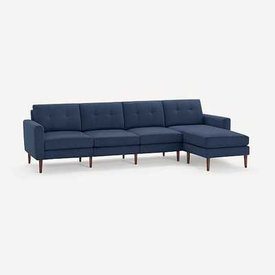 Nomad Block Fabric King Sofa with Chaise, Olefin, Navy Blue, Walnut Wood - West Elm