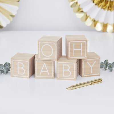 6 Piece Guest Book Baby Letter Block Set - Wayfair