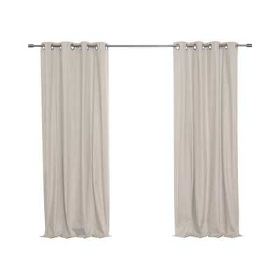 Best Home Fashion 52 in. W x 84 in. L Linen Textured Grommet Thermal Total Blackout Curtains in Natural - Home Depot