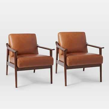 Midcentury Show Wood Leather Chair, Saddle/Espresso, Set of 2 - West Elm