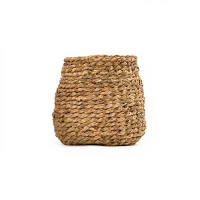 Zentique Round Concave Hand Woven Water Hyacinth Small Basket without Handles, Brown - Home Depot
