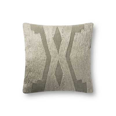 """Magnolia Home by Joanna Gaines PILLOWS P1103 OLIVE 18"""" x 18"""" Cover w/Down - Magnolia Home by Joana Gaines Crafted by Loloi Rugs"""