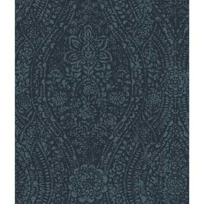 RoomMates 28.18 sq ft Ornate Ogee Peel and Stick Wallpaper, blue/ black - Home Depot