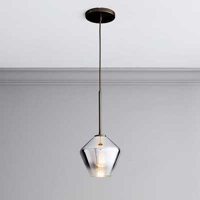 "Sculptural Glass Geo Pendant, 8"", Silver Ombre Shade, Bronze Canopy - West Elm"