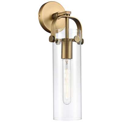 "Pilaster 16 3/4""H Brushed Brass Cylinder Glass Wall Sconce - Style # 84K46 - Lamps Plus"
