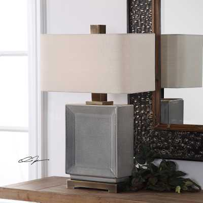 Abbot Crackled Gray Table Lamp - Hudsonhill Foundry