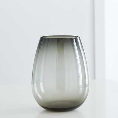 Pure Foundations Glass Vases, Large Vase, Smoke - West Elm