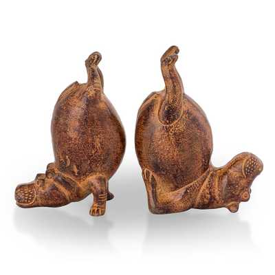 SAN PACIFIC INTL Brown Hippo Bookends (Set of 2) - Home Depot
