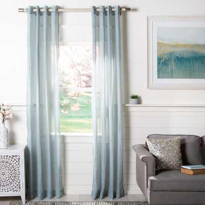 Safavieh Moony Blue Semi-Sheer Window Panel 52 in. W x 96 in. L - Home Depot