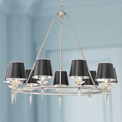 "Manhattan 37 1/2""W Brushed Nickel and Black 9-Lt Chandelier - Style # 78X06 - Lamps Plus"