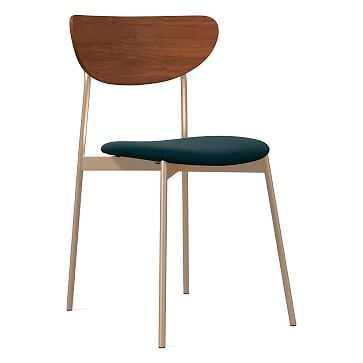 Modern Petal Upholstered Dining Chair, Distressed Velvet, Peacock, Light Bronze - West Elm