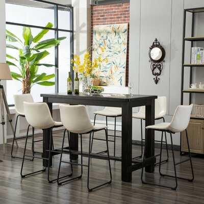 Bamey 7 Piece Solid Wood Dining Set - Wayfair