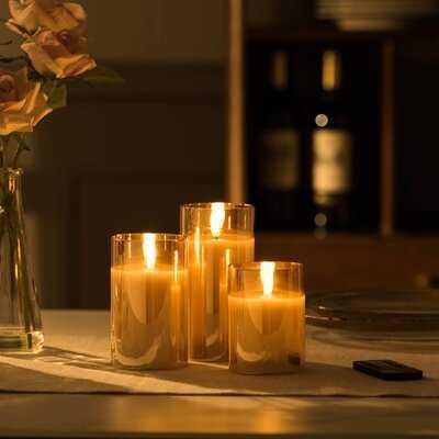3 Piece Unscented Pillar Candle Set - Wayfair