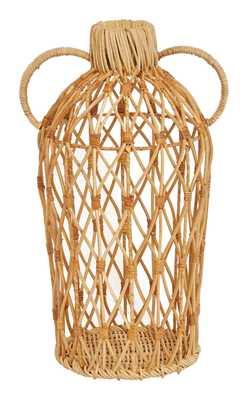 "Decorative 17""H Handwoven Rattan Vase with Handles - Moss & Wilder"