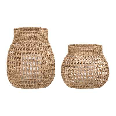Natural Seagrass Lantern with Glass Insert (Set of 2 Sizes) - Moss & Wilder