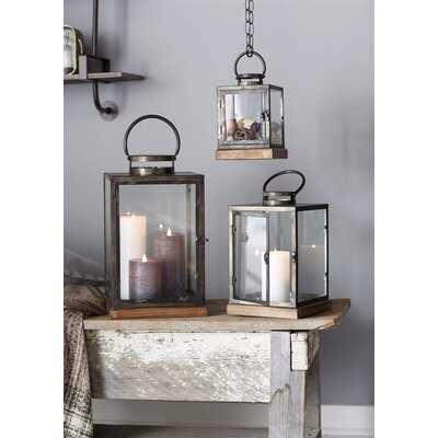 3 Piece Tall Wood/Metal/Glass Lantern Set - Birch Lane