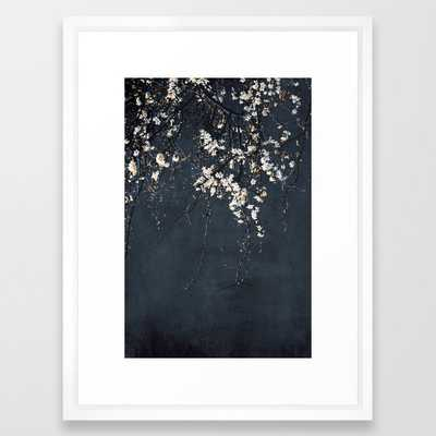 Blossoms On Blue Framed Art Print by Ingrid Beddoes Photography - Vector White - MEDIUM (Gallery)-20x26 - Society6