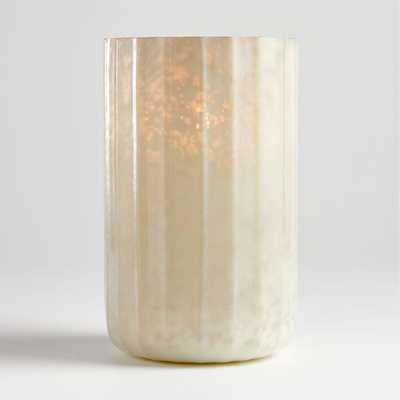 Cumulus White Mercury Glass Hurricane - Crate and Barrel