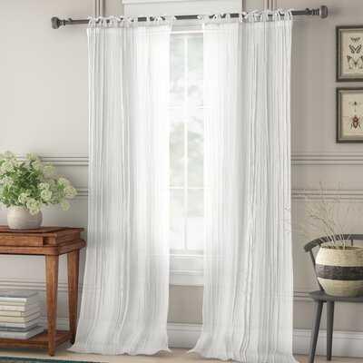 Channing Solid Semi-Sheer Tab Top Single Curtain Panel - Birch Lane