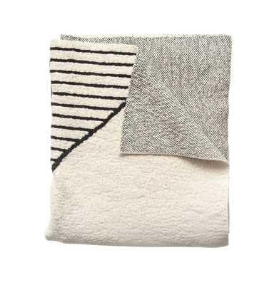 Black & Cream Cotton Knit Throw - Moss & Wilder