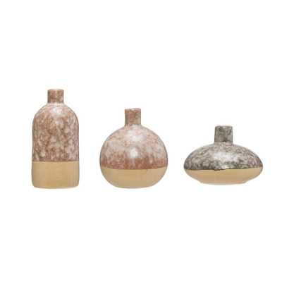 3R Studios Brown Stoneware Decorative Vase (Set of 3) - Home Depot