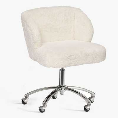 Ivory Sherpa Faux-Fur Wingback Swivel Desk Chair - Pottery Barn Teen