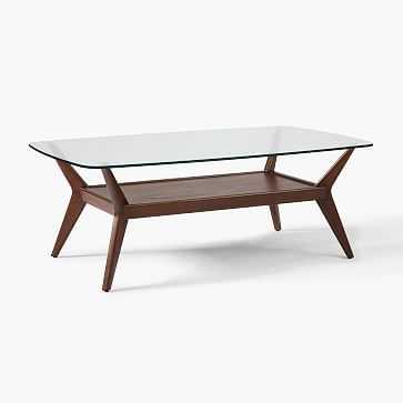 Jensen Collection Rectangle Coffee Table, Dark Walnut, Glass - West Elm