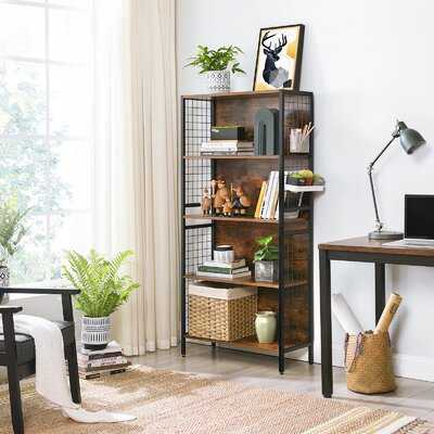 17 Stories Bookcase, Office Storage Shelf, 4 Tiers For Books, Decorations, Stable Steel Frame, S-Shaped Hooks For Hanging, Living Room, Studio, Bedroom, Rustic Brown And Black A976CAB3C8904A04BD635935F8C7786F - Wayfair