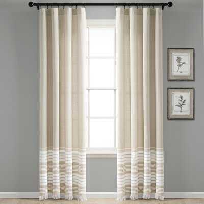 Marston 100% Cotton Yarn Dyed Tassel Fringe Window Striped Rod Pocket Curtain Panels - AllModern