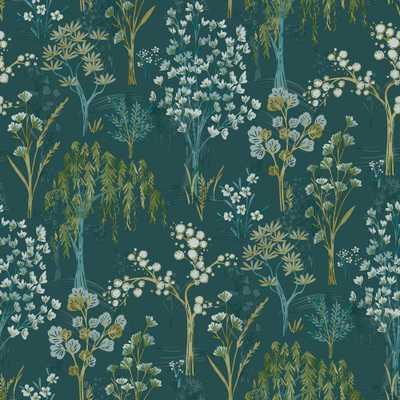 WALLS REPUBLIC Teal Whimsical Botanicals Wallpaper, Blue - Home Depot