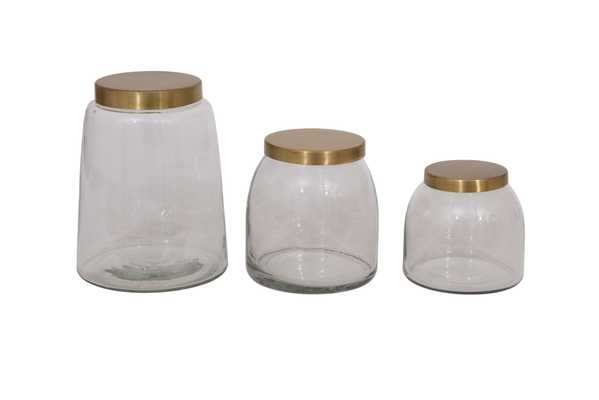Round Glass Jars with Brass Finish Lids (Set of 3 Sizes) - Nomad Home