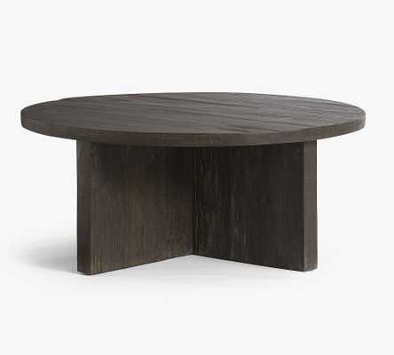 "Rocklin Round Reclaimed Wood Coffee Table, Rustic Black, 42""L - Pottery Barn"