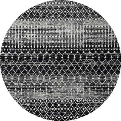 nuLOOM Blythe Modern Moroccan Trellis Black 8 ft. Round Rug - Home Depot