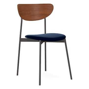 Modern Petal Upholstered Dining Chair, Performance Velvet, Ink Blue, Antique Bronze - West Elm