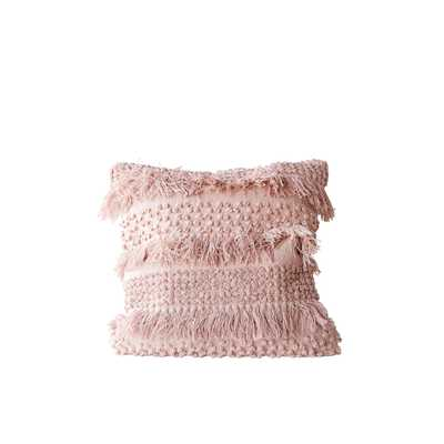 Square Pink Pillow with Fringe and Multiple Designs with Varied Textures - Nomad Home
