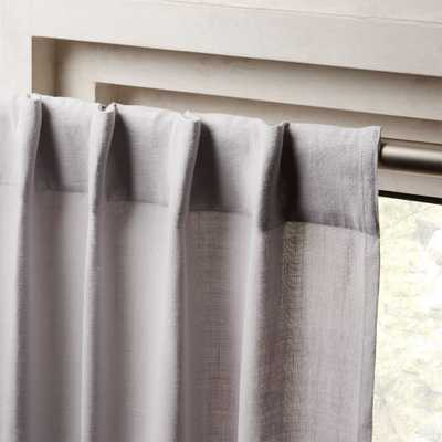 "Heavyweight Silver Grey Linen Curtain Panel 48""x96"" - CB2"