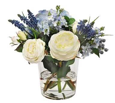 """Faux Hydrangea & Rose Mixed Blue Composed Arrangement, Glass Round Vase - 12"""" - Pottery Barn"""