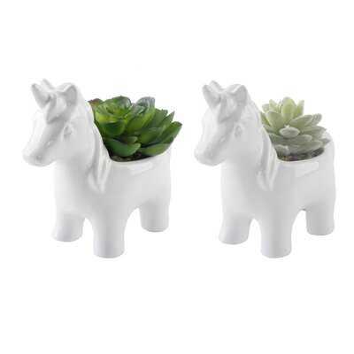 "Ceramic Unicorn Desktop 2"" Artificial Herbs Succulent Plant in Pot - Wayfair"