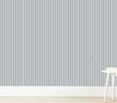 Pinstripe Wallshoppe Wallpaper, Navy - Pottery Barn Kids