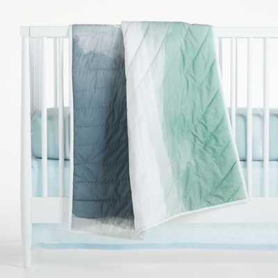 Organic Blue Brushstroke Crib Quilt - Crate and Barrel