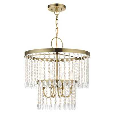 4 - Light Candle Style Chandelier with Crystal Accents - Wayfair