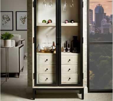 Tinen Bar Cabinet, Brown - Pottery Barn