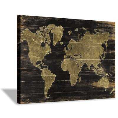 World Map Canvas Wall Art: Map On Dark Brown Wood Background Graphic Art Painting Print For Living Room Decor (36''X24'') - Wayfair