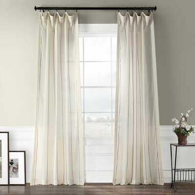 Shattuck Aruba Striped Sheer Rod Pocket Single Curtain Panel - Birch Lane