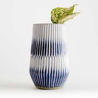 Piega Small Blue and White Vase - Crate and Barrel