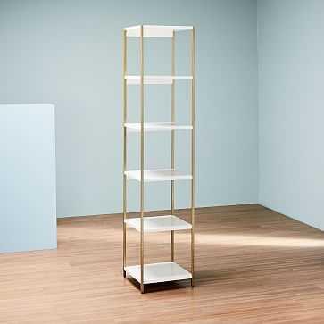 Zane Narrow Bookshelf, White/Antique Brass - West Elm